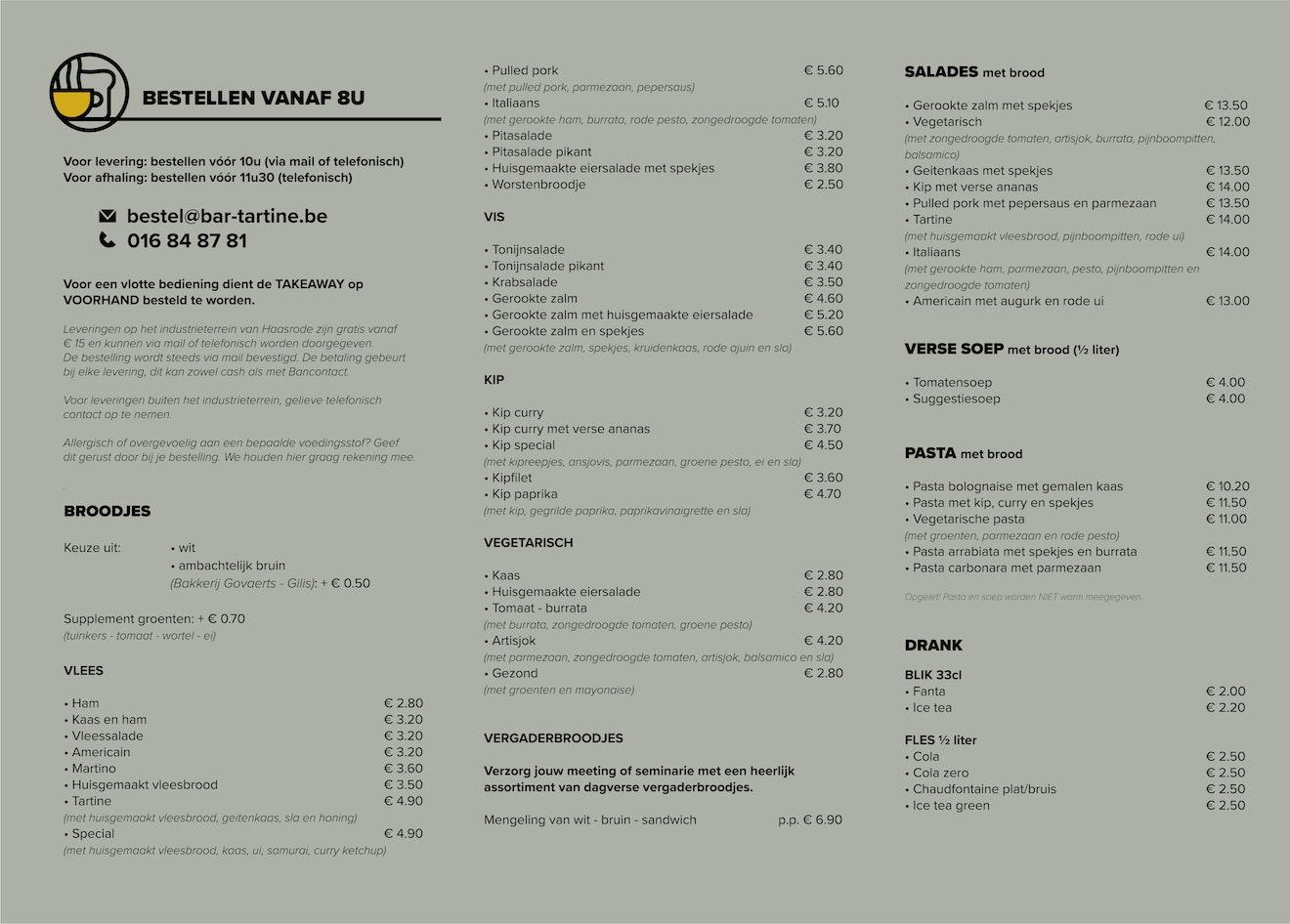 menu take away groen
